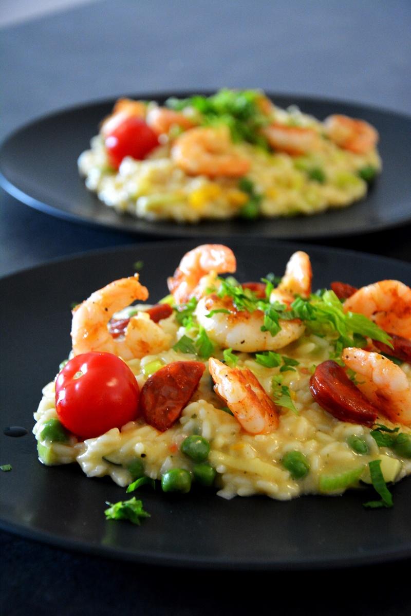 Rezept Gemüse-Risotto mit Garnelen