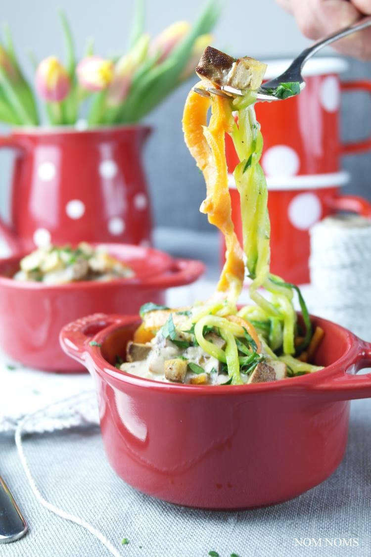 Rezept Gemüse Spaghetti mit veganer Carbonara Sauce