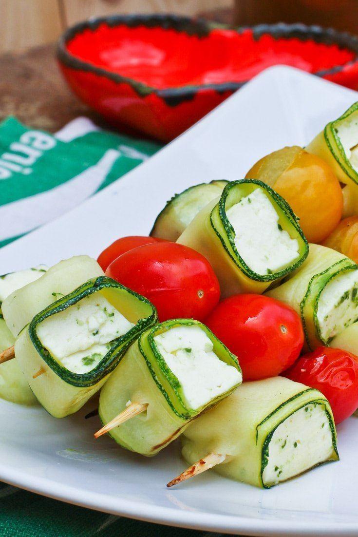 Rezept Gemüse Spieße Grillen – Zucchini, Feta & Tomaten