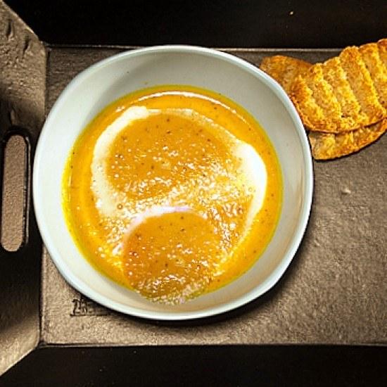 Rezept Geröstete Karottensuppe mit Kokosnussmilch