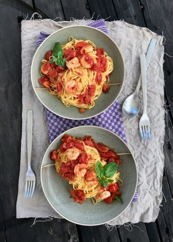 Rezept Geschmolzene Tomaten mit Garnelen