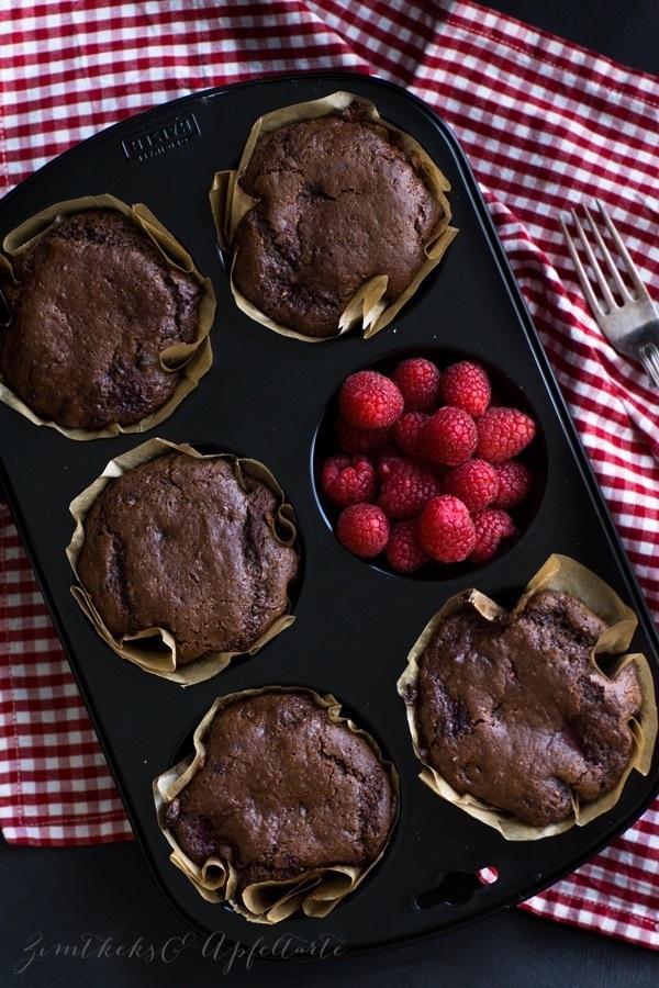 Rezept Gesunde Himbeer-Schoko-Muffins