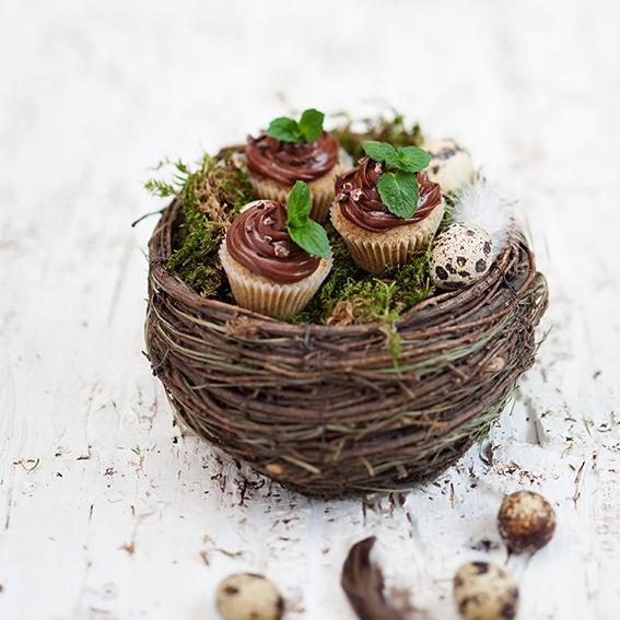 Rezept Gluten freie Haselnuss Schokoladen Cupcakes im Nest