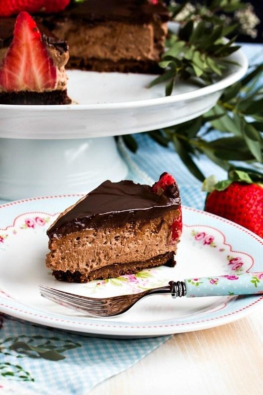 Rezept Glutenfreie Erdbeer-Schokomousse Torte