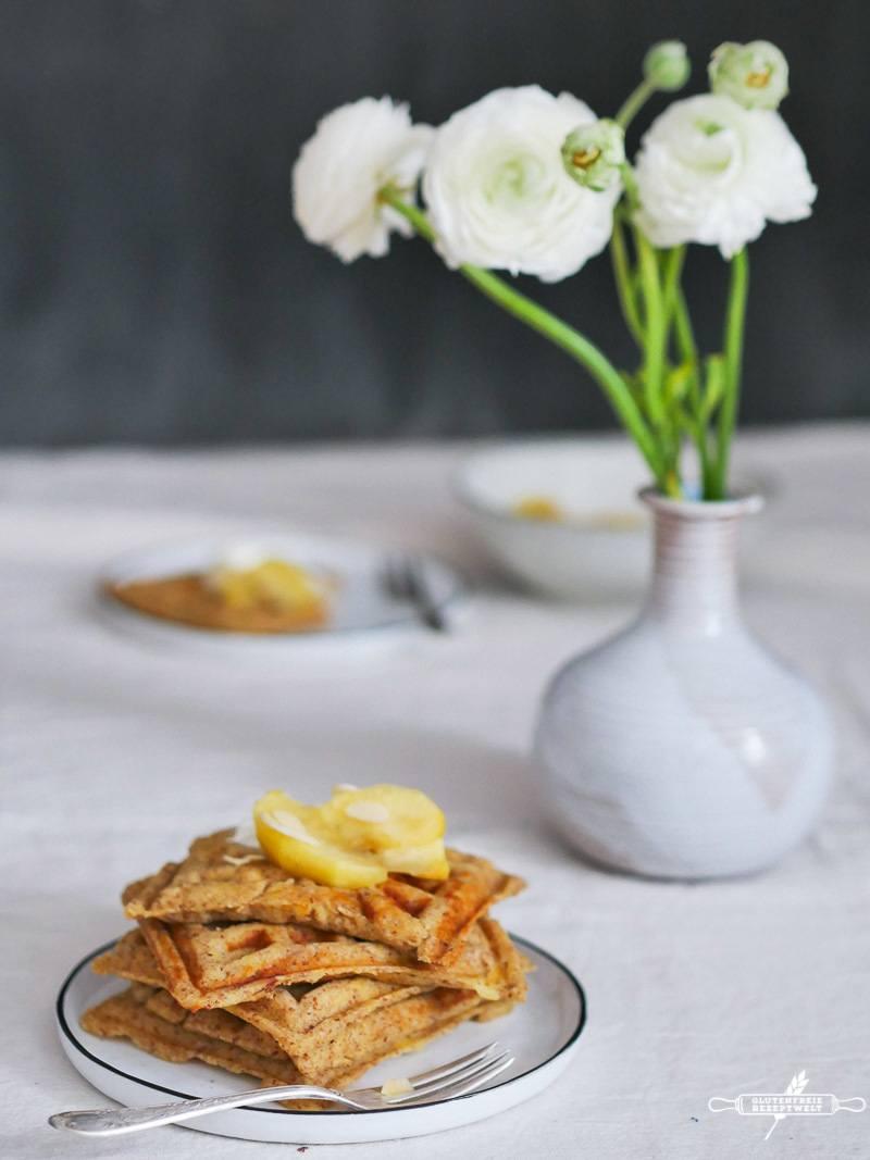 Rezept Glutenfreie Waffeln mit Vanille- Äpfeln