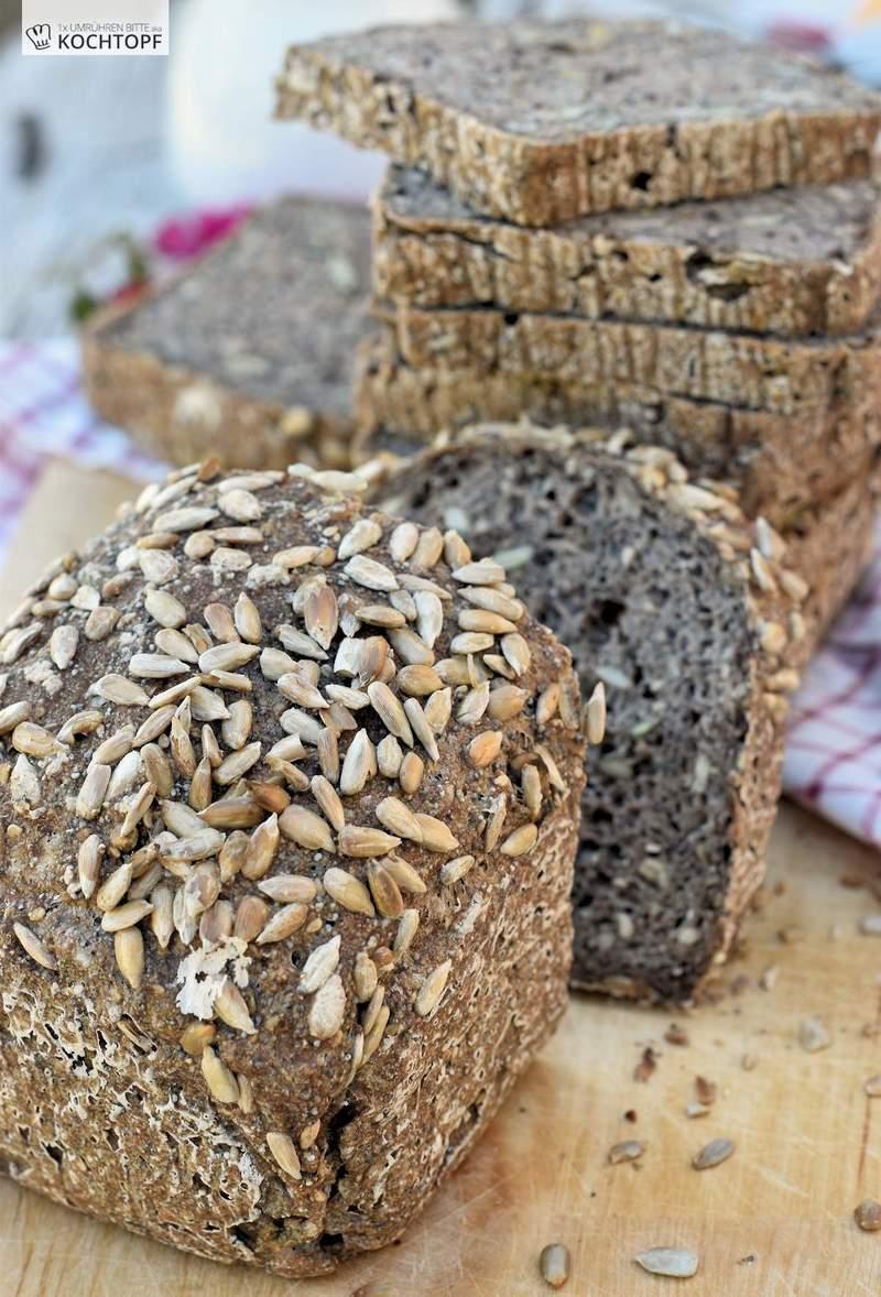 Rezept Glutenfreies kerniges Kastenbrot mit Vorteig