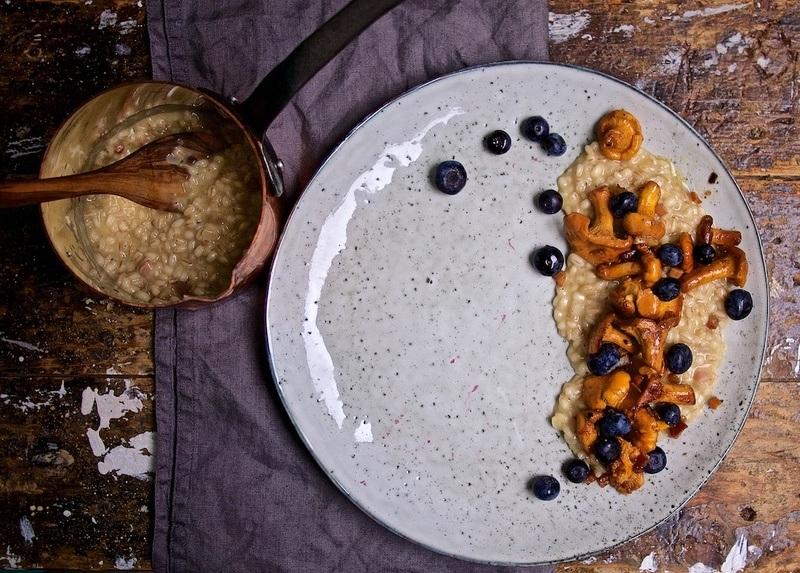 Rezept Graupen-Risotto mit Pfifferlingen und Heidelbeeren