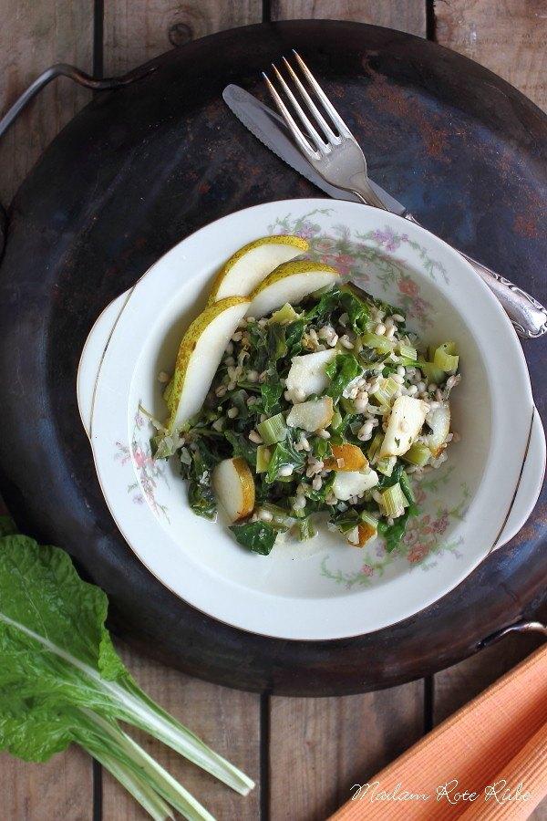 Rezept Graupenrisotto mit Mangold und Birne