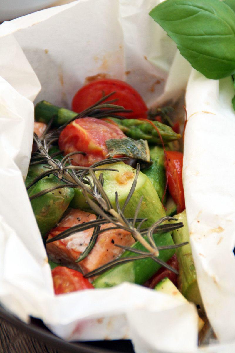 Rezept Grüner Spargel im Aromapäckchen