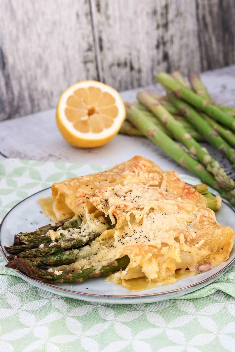 Rezept grüner Spargel im Lasagneblatt