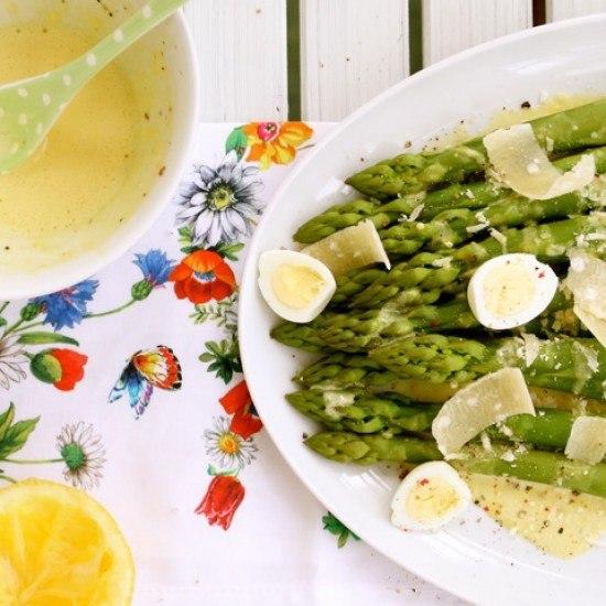 Rezept grüner Spargel mit Zitronen-Rouille