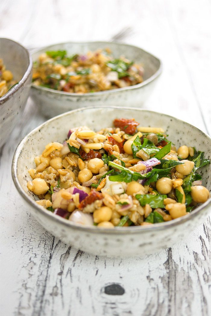 Rezept Grünkern-Kichererbsen-Salat mediterrane Art