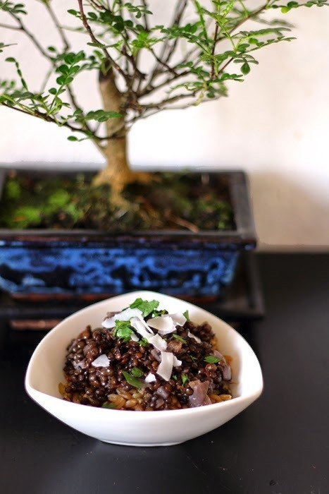 Rezept Grünkern mit Curry aus schwarzen Linsen