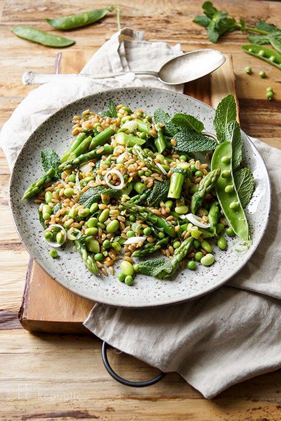 Rezept Grünkernsalat mit Spargel, Erbsen und Edamame