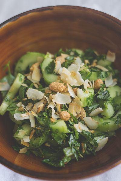 Rezept Gurken-Saté-Salat mit Kokosflakes