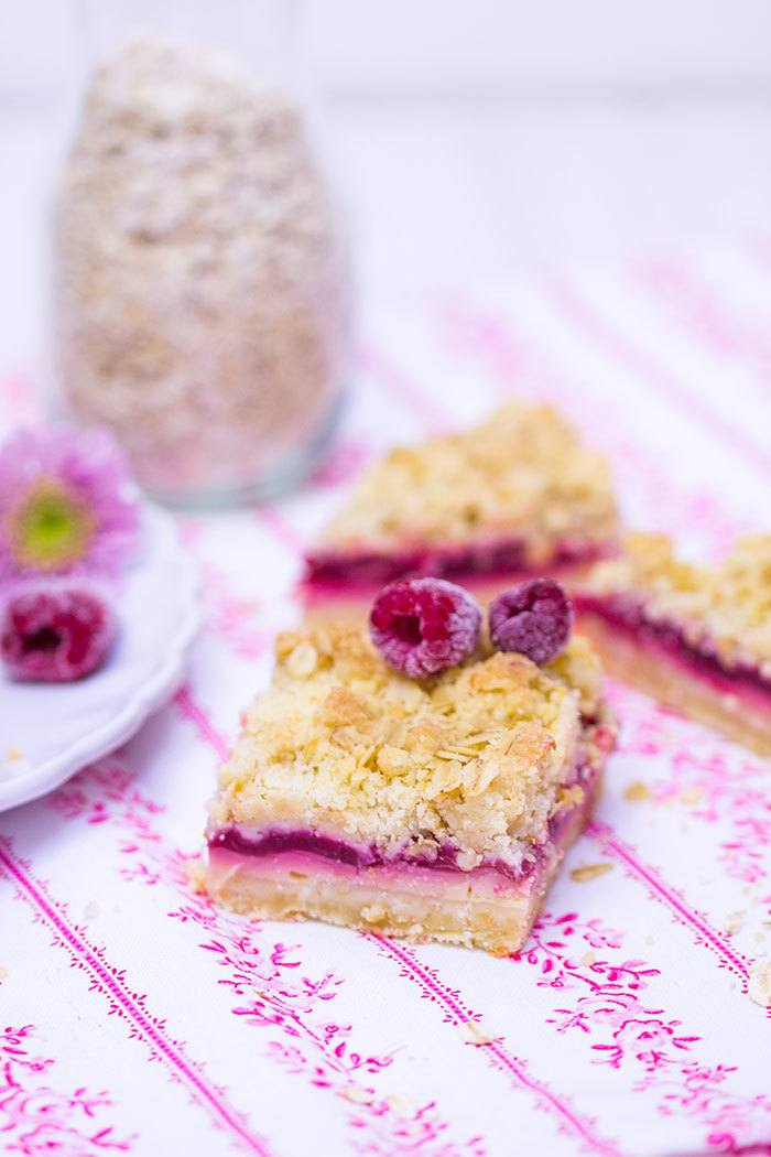 Rezept Haferflocken-Himbeer-Streuselkuchen