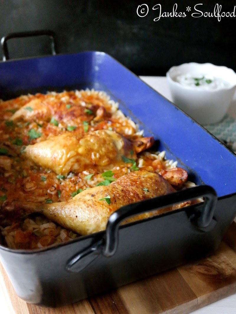 Rezept Hähnchen auf Kritharaki