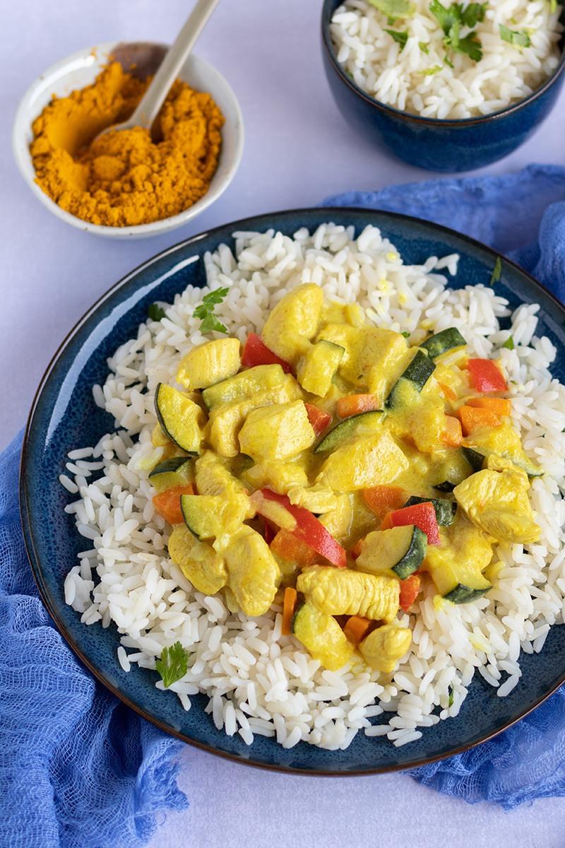 Rezept Hähnchen-Curry mir Reis und Gemüse, Familienessen