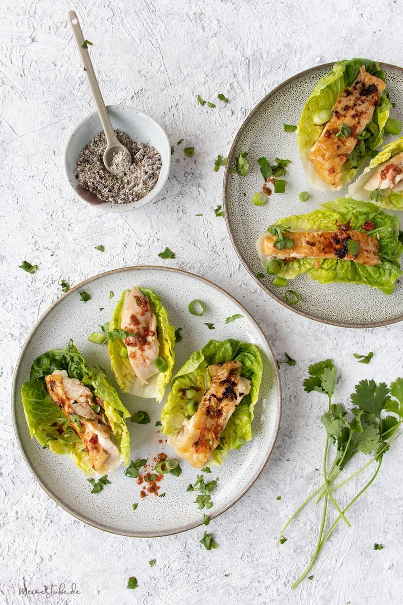 Rezept Hähnchen in Salatschiffchen