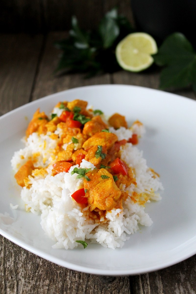 Rezept Hähnchen-Paprika-Curry auf Jasminreis