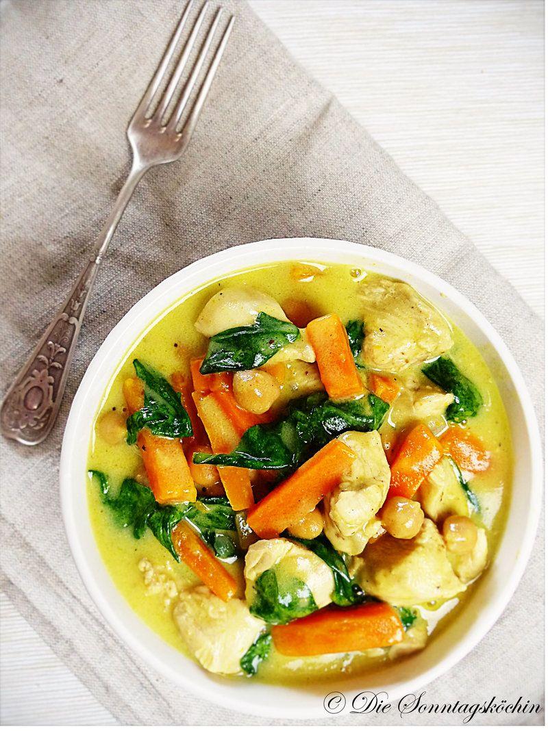 Rezept Hähnchencurry mit Spinat