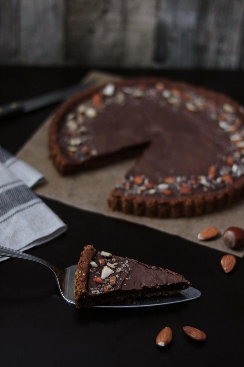 Rezept Haselnuss-Schokoladen-Tarte {VEGAN}