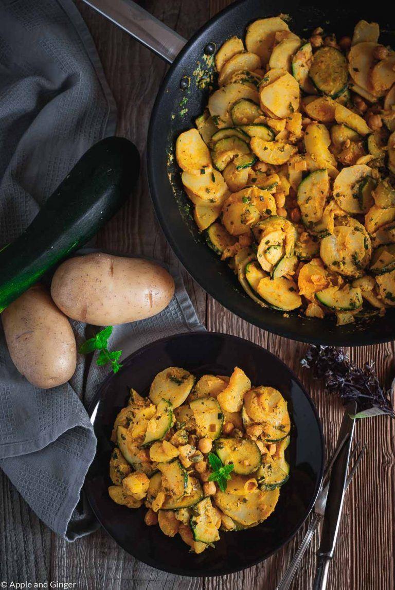 Rezept Hauptgerichte Orientalische Kartoffel-Zucchini-Pfanne mit Kichererbsen und schwarzem Rettich