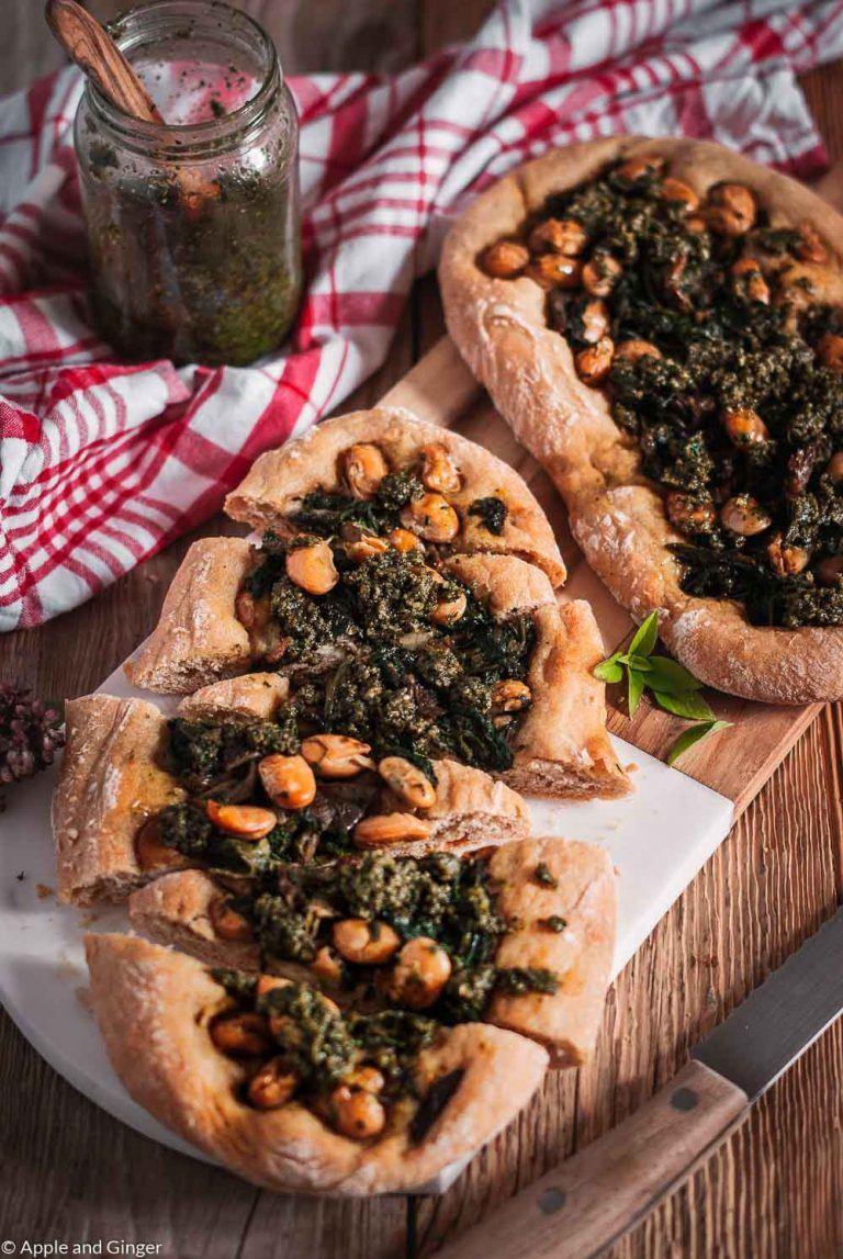 Rezept Hauptgerichte Pide mit Spinat, Pilzen, weißen Bohnen und Basilikum Pesto
