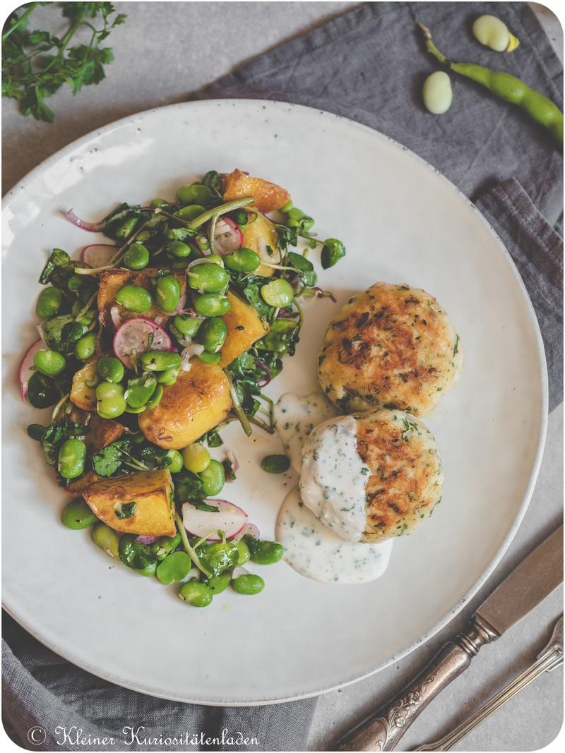 Rezept Hechtfrikadellen   Kartoffelsalat mit dicken Bohnen