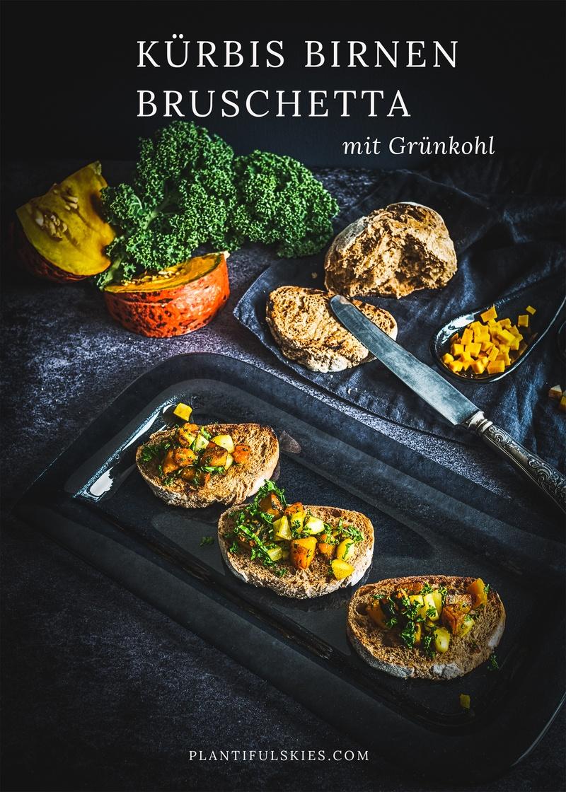 Rezept Herbstliches Kürbis Bruschetta mit Birne und Grünkohl