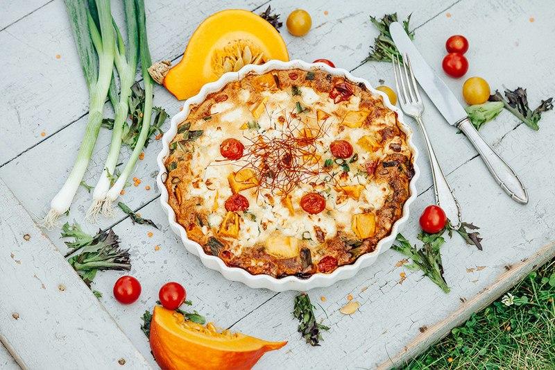 Rezept Herbstliches Rezept: Bodenlose Quiche mit Kürbis und Tomaten!
