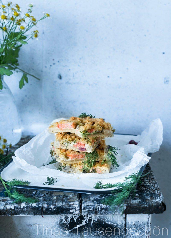 Rezept Herzhafter Streuselkuchen mit Lachs und Dill