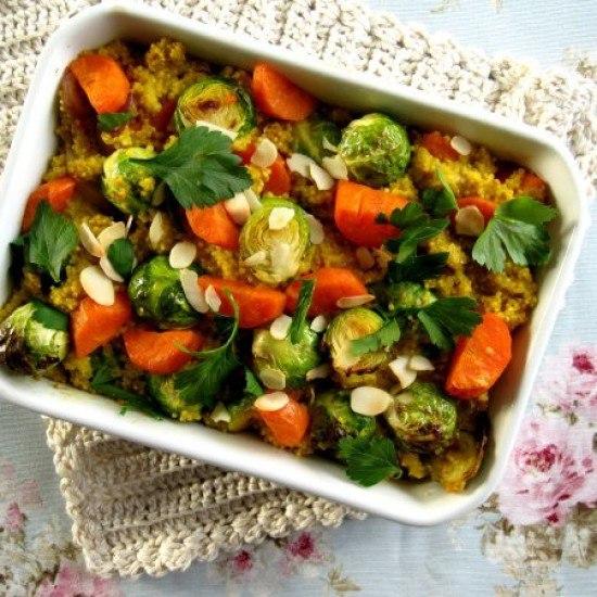 Rezept Hirse-Kokos-Auflauf mit Curry und Rosenkohl