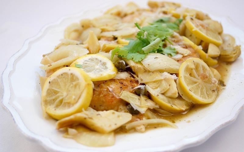 Rezept Huhn mit Zitrone, Fenchel und Artischocken
