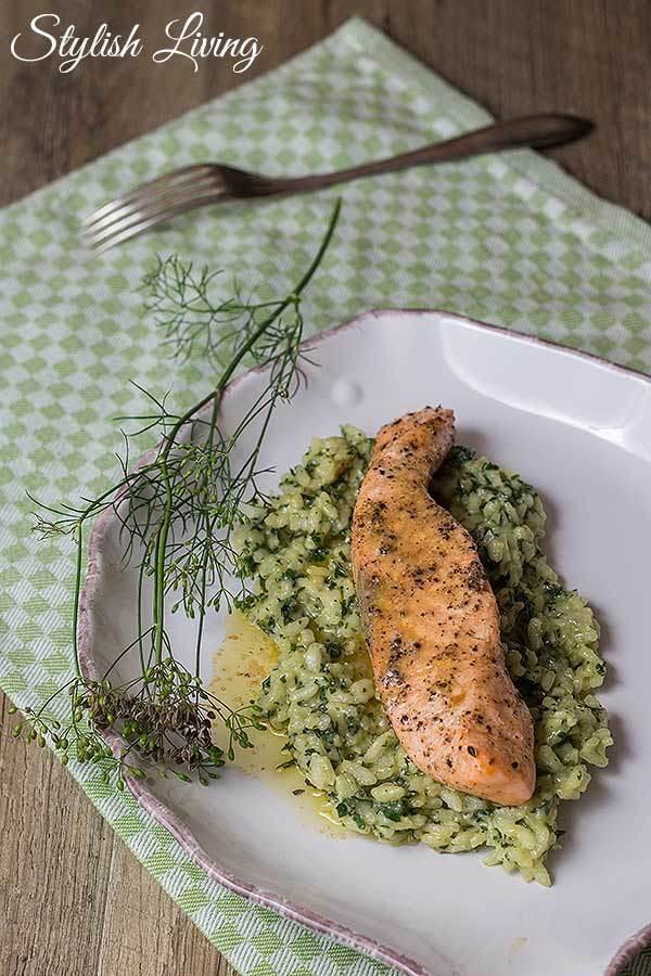 Rezept Im Ofen gegarter Lachs mit Erbsen-Minz-Risotto