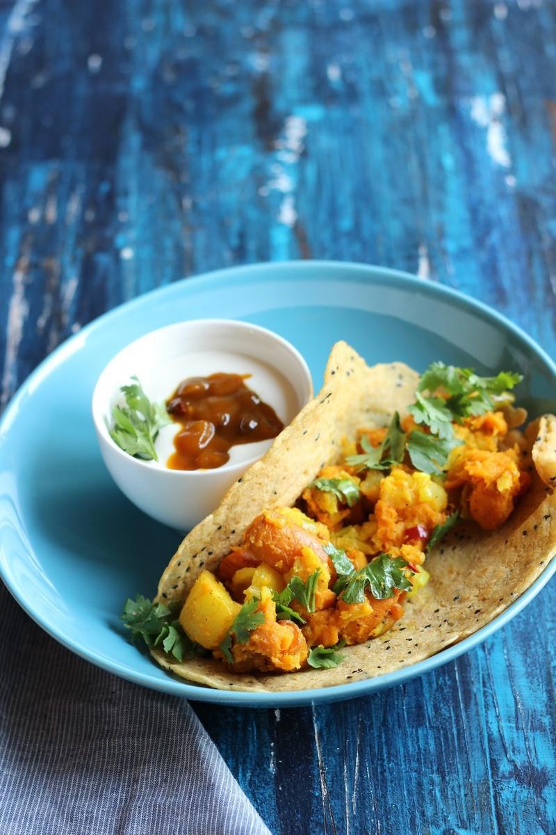 Rezept Indische Dosas mit Süßkartoffel und Mangochutney