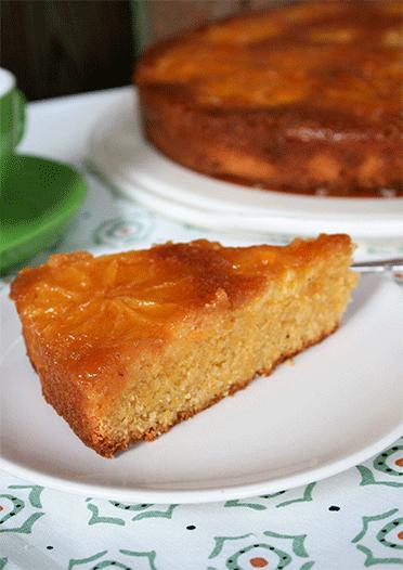 Rezept Italienischer Polenta Orangen Kuchen upside down
