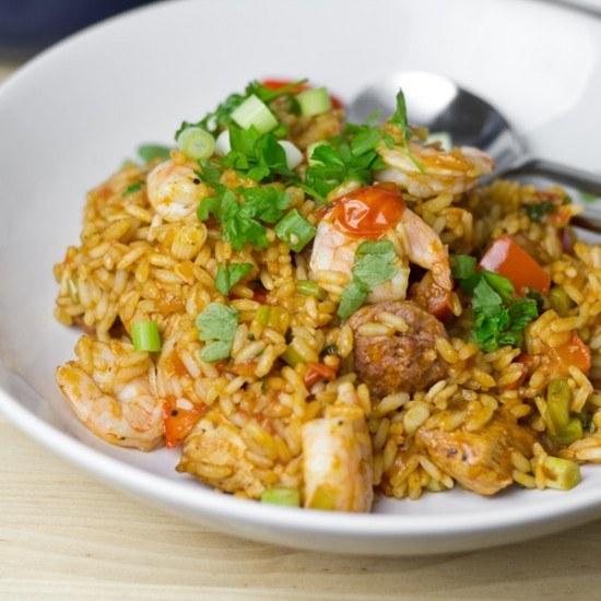 Rezept Jambalaya mit Wurst, Huhn und Garnelen