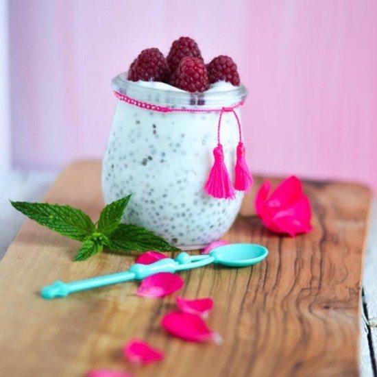 Rezept Joghurt Chiapudding mit Himbeeren