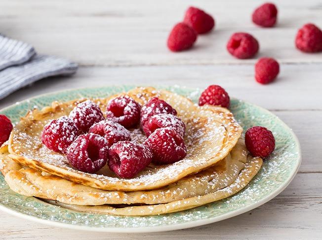 Rezept Joghurt-Pfannkuchen mit Himbeeren
