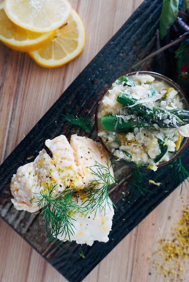 Rezept Kabeljau konfiert auf Spargel-Bärlauch-Risotto
