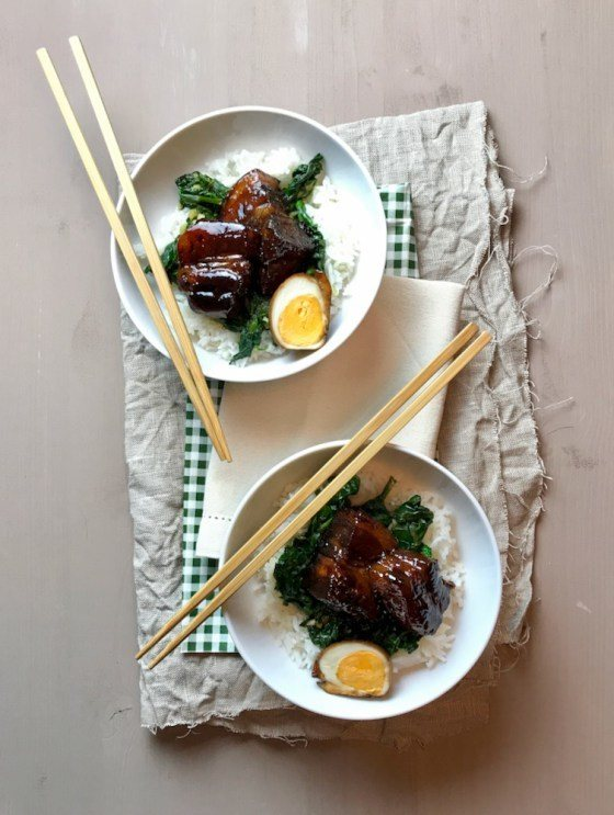 Rezept Kakuni – japanischer geschmorter Schweinebauch (mit Spinat)