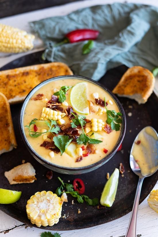 Rezept kalte Mais-Kartoffel-Käse-Suppe