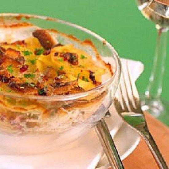 Rezept Kartoffel-Champignon-Gratin mit Speck