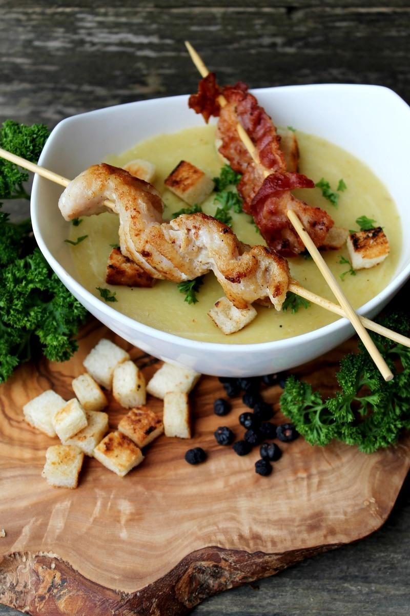 Rezept Kartoffel-Meerrettich-Suppe mit Bacon- oder Rotbarschspieß