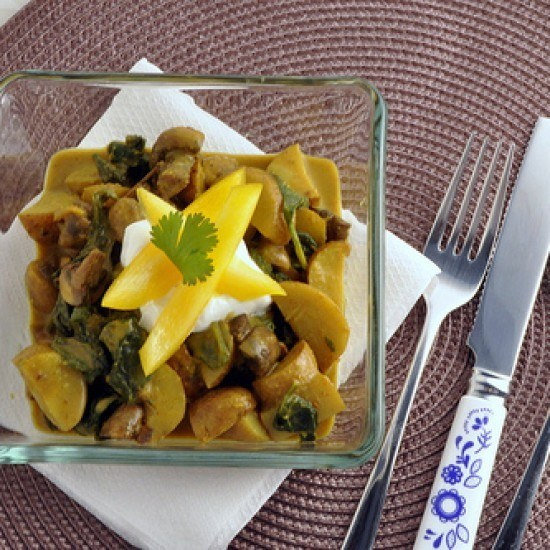 Rezept Kartoffel Spinat Curry