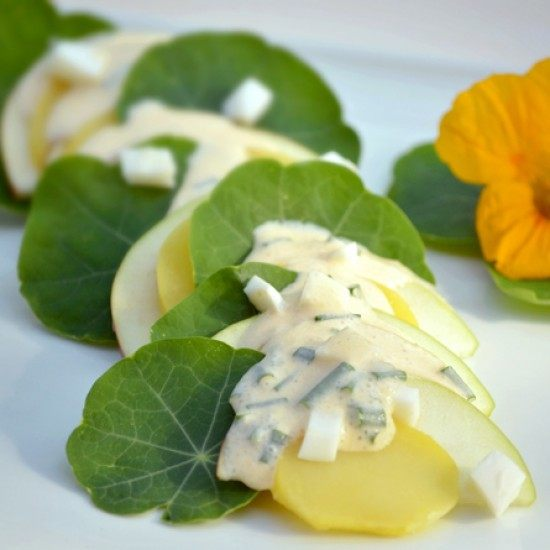Rezept Kartoffelsalat mit Apfel und Kapuzinerkresse