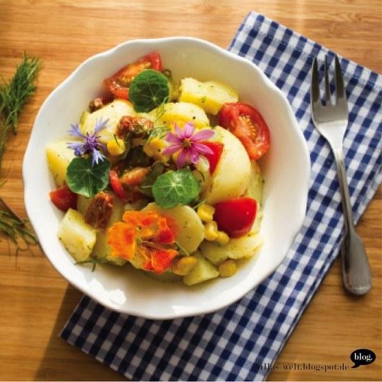 Rezept Kartoffelsalat mit essbaren Blüten