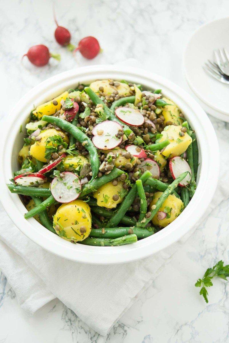 Rezept Kartoffelsalat mit Linsen und grünen Bohnen