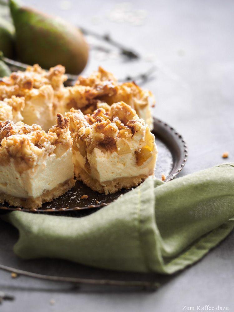 Rezept Käsekuchen mit Birne und Walnüssen